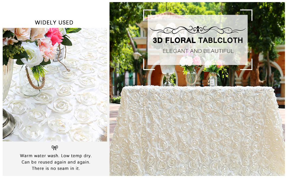 ivory rosette tablecloth