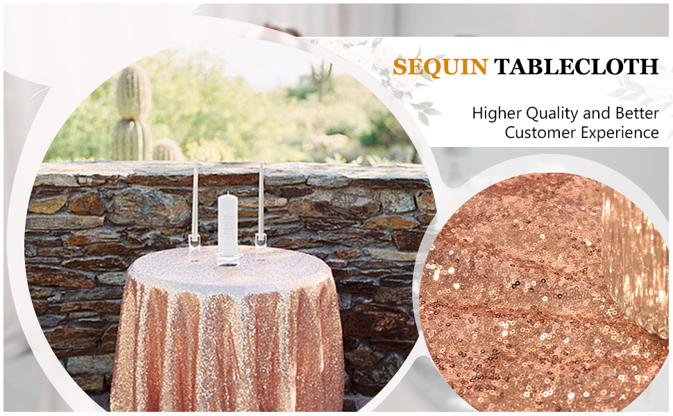Rose Gols round sequin tablecloth