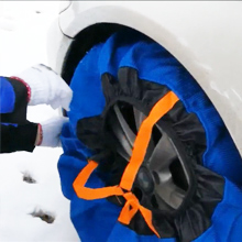 mouting fabric snow chains on tire