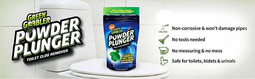 powder plunger drain opener cleaner toilet urinal clog clogged unclog safe green gobbler goblin