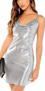 Bodycon Metallic Party Dress Clubwear