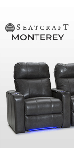 Seatcraft Monterey Leather Home Theater Seating Power Recline with Adjustable Powered Headrests