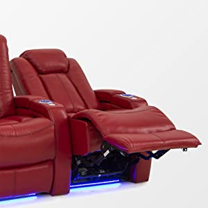 Seatcraft Delta Home Theater Seating Leather Power Recline, Powered Headrests, and SoundShaker