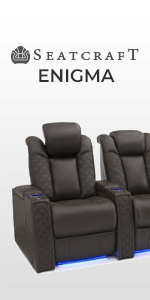 Seatcraft Enigma Home Theater Seating Leather Power Recline Headrest Lumbar Support SoundShaker