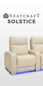Seatcraft Solstice Leather Home Theater Seating with Power Lumbar, Recline, and Headrest