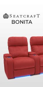 Seatcraft Bonita Home Theater Seating Bella Fabric Power Recline Adjustable Powered Headrest