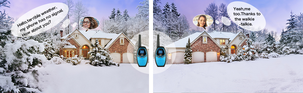 Don't worry about the bad weather, 2 way radios walkies talkies would solve it perfectly for you.