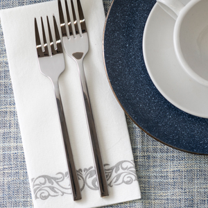 large size napkin with fork and plate set