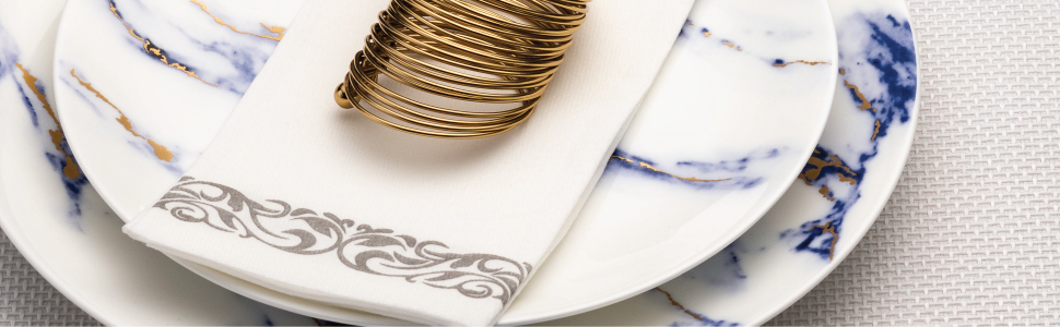 napkin on plate with napkin ring