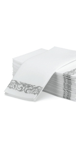 Guest Towel With Silver Design 50 pk