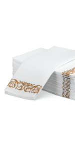 Guest Towel With Gold  Design 50 pk