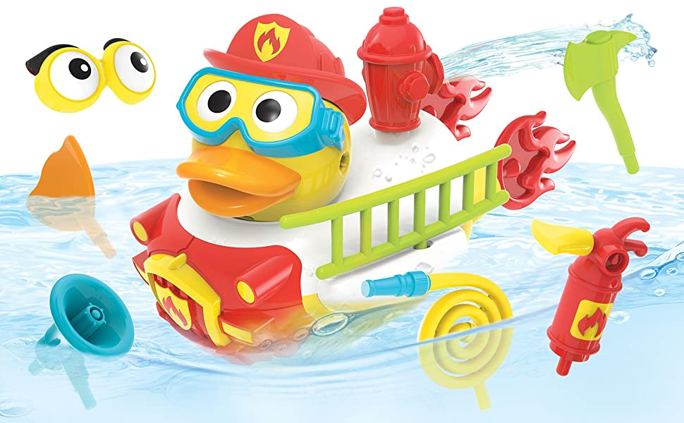 Firefighter fireman duck yookidoo baby bath toy tub bathtub kid child play boy preschool toddler