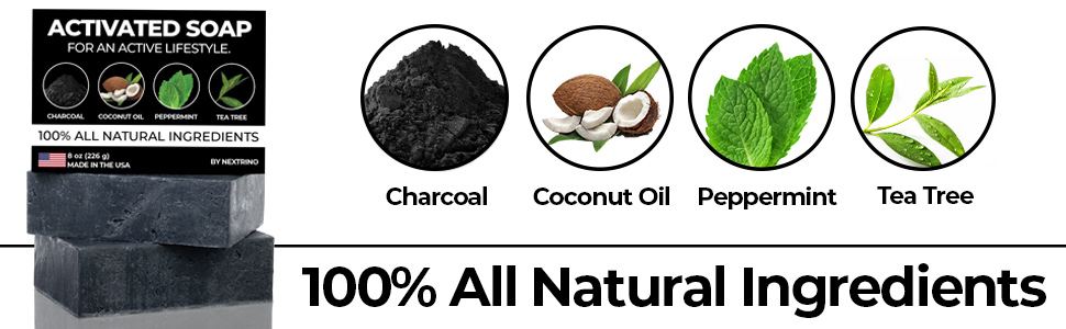 Nextrino activated charcoal soap for an active lifestyle athlete all natural ingredients made in use