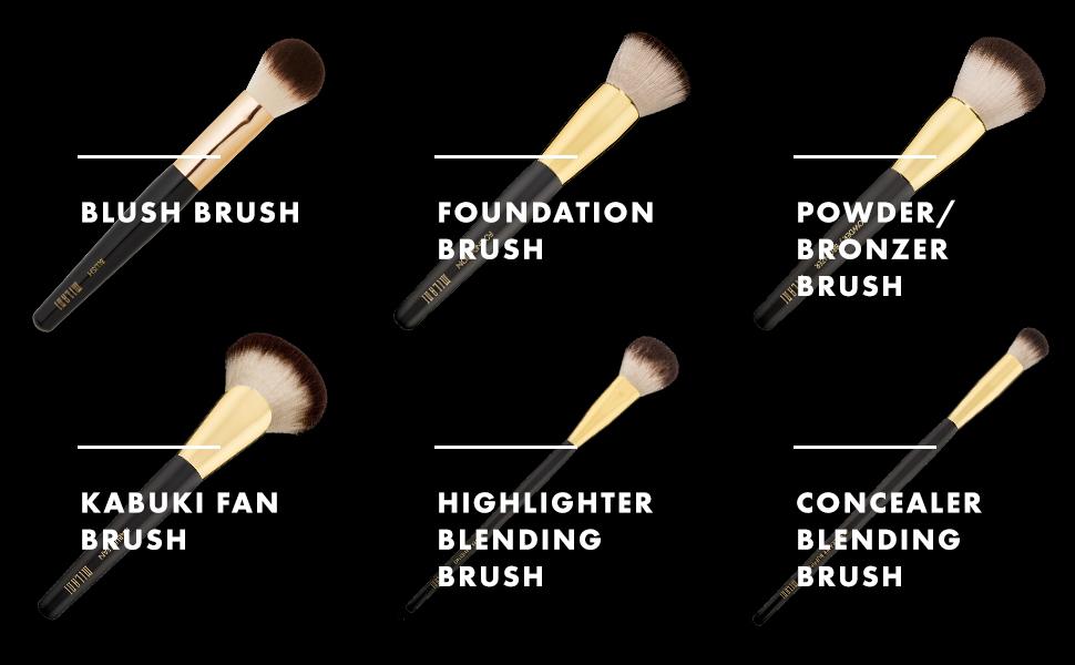 Milani Blush, Foundation, Powder/Bronzer, Kabuki Fan, Highlighter Blending, Concealer Brushes