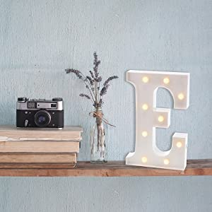 lifestyle photo for Metal Marquee Letter E Light Up