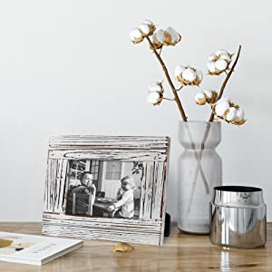 """Life style pic of Distressed White Photo Frame 5"""" x 7"""""""