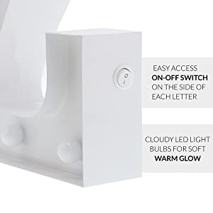 light switch photo for White Marquee Letter