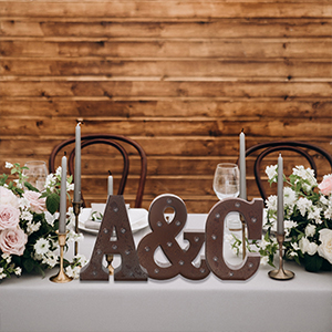 initials marquee letters wedding