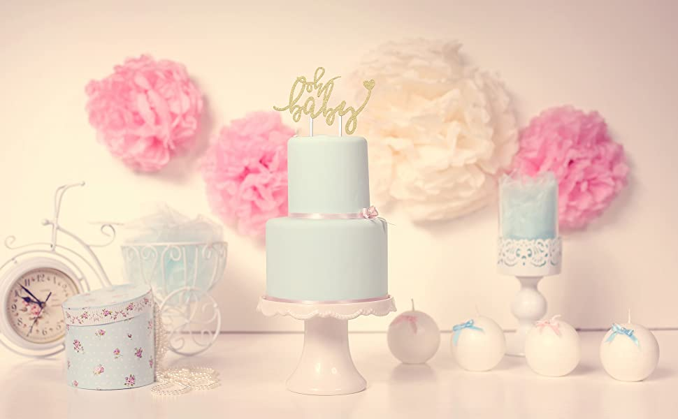 oh baby shower party cake topper