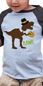 thanksgiving pilgrim dinosaur funny dino turkey day boys shirt