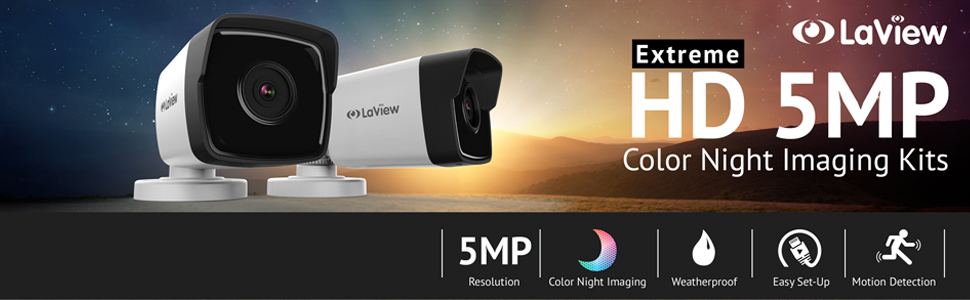 LaView 5MP Color night vision weatherproof easy set up motion detection free remote view security
