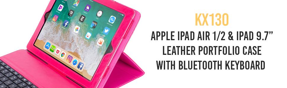 Pink Alpatronix KX130 iPad Air 9.7-inch Folio Smartcase Cover Magnet Bluetooth Wireless Keyboard