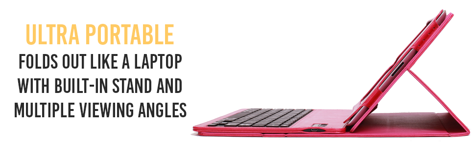 Alpatronix KX130 Pink Keyboard Tablet Smart Case Folds Like A Laptop Built-in Stand & Viewing Angles