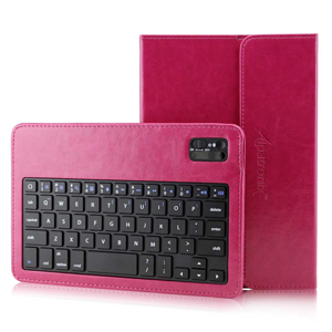 Pink KX130 Removable Detachable Bluetooth QWERTY keyboard with Portfolio Syle PU Leather Cover Case