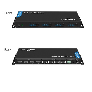 hdmi matrix 4x4 seamless switch between four sources four outputs 4k 30hz UHD remote control IR