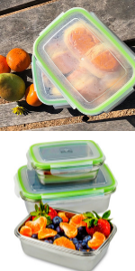 JaceBox premium stainless steel lunch box set BPA FREE easy to clean Airtight New and Improved Lids