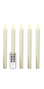 Set of 5 Wax LED Taper Candles with 8 Functions Remote Control