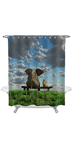 Dog and Elephant Sitting on The Green Grass Field Shower Curtain