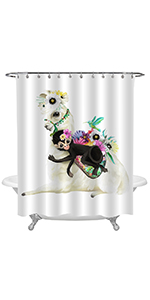 Mexico Alpaca with Hummingbird and Black Monkey Shower Curtain