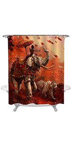 War Animals Elephant and Tiger Charge Forward with a Archer Shower Curtain