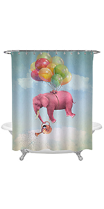 Pink Elephant in The Cloudy Sky with a Watering Can Shower Curtain