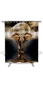 Elephant Walking at The Night on Full Moon Background Shower Curtain