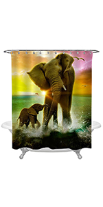 Wild Elephant Family Playing Water with Colorful Sun Rise Shower Curtain