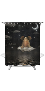 Sad Elephant Sitting on Cloud in Night Sky Shower Curtain