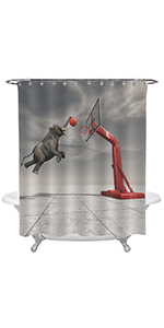 Elephant Throws The Basketball at The Basket 3D Print Shower Curtain