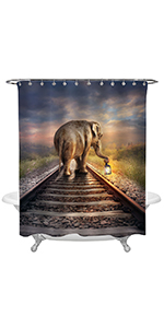 African Elephant with Glowing Lantern Shower Curtain