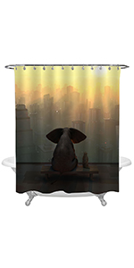 Elephant and Dog Sit on NYC Skyscraper with Sunset Shower Curtain