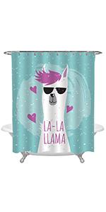 Cool Llama in Black Sunglasses Shower Curtain