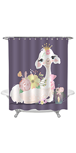 Dreaming Queen Alpaca with Colorful Flowers Shower Curtain