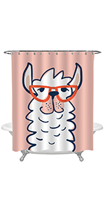 Funny Llama Face with Glasses Shower Curtain