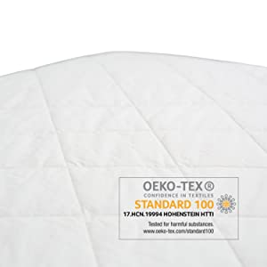 organic gots certified cotton free of polyester and all the bad stuff. Better for baby environment
