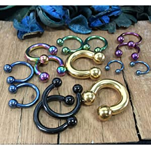 all colors black gold blue light blue purple rainbow horseshoe barbells all sizes