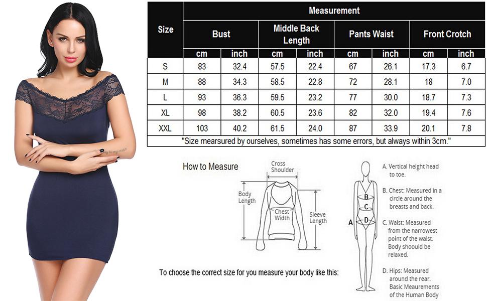 women lingerie size chart