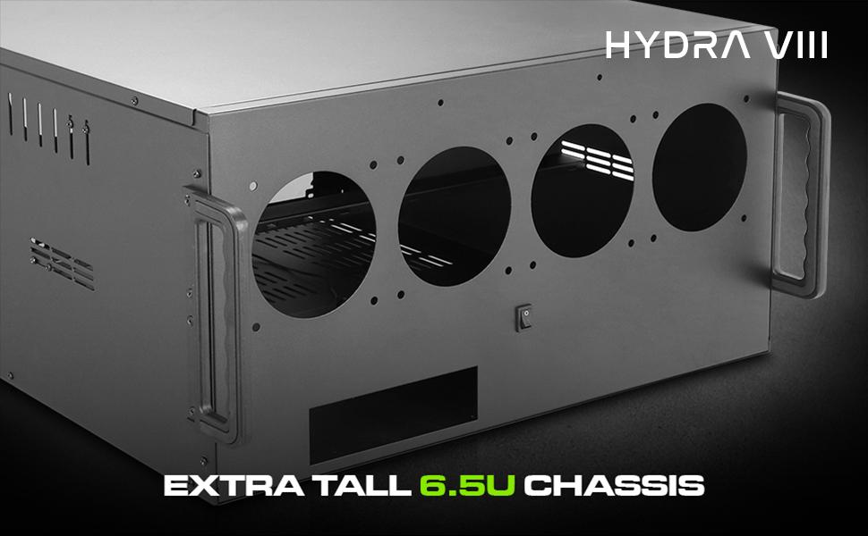 Hydra VIII Modular 10 GPU Mining 6.5U HPC Case, Triple PSU Ready