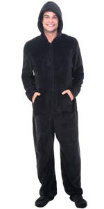 matching mens footed hooded pajama set