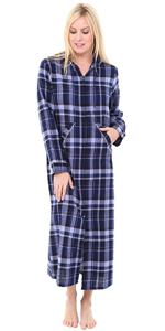 flannel zip front robe
